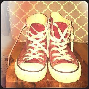 BARELY WORN Maroon Converse All Star High Tops